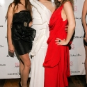 "Iman Hussein, Engie Hassan, and Carrie Schechter, pose during the EngieStyle one year anniversary, ""A Tale of the Black Dress"", fashion presentation."