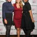 "Katrena D. Moore, Marcy Clark, and Shauntele, pose during the EngieStyle one year anniversary, ""A Tale of the Black Dress"", fashion presentation."